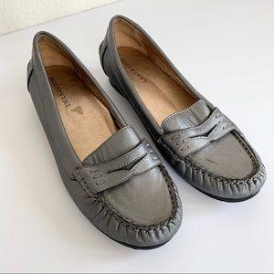 Modern Vice Monaco Gray Metallic Penny Loafers